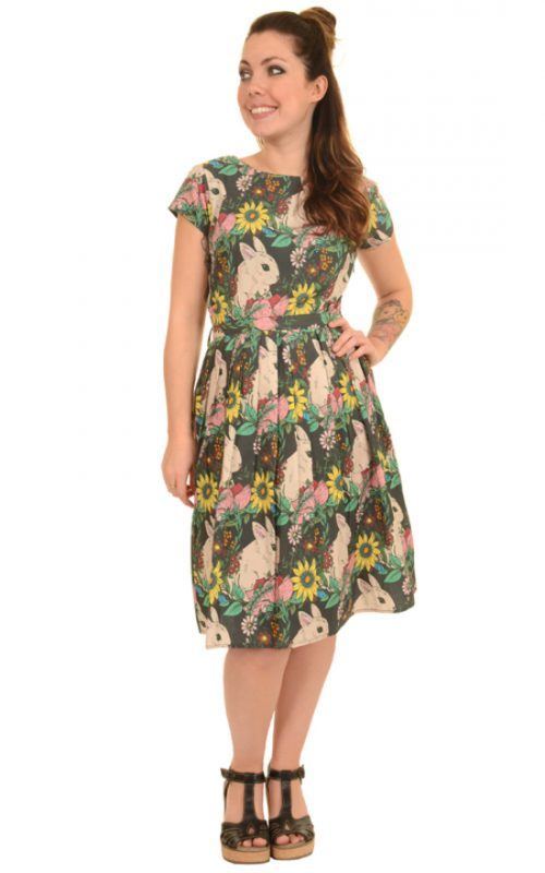 Ladies Run & Fly 50s 60s Retro Floral Bunny Rabbit Tea Dress